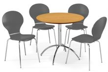 Kimberley Dining Set Natural Table & 4 Slate Grey Chairs 1/2 Price Deal (1)